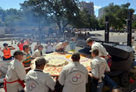 largest commercially available pizza world record set by the Dirt Road Cookers in Texas